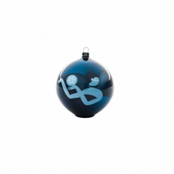 Alessi Boule de Noël Blue Christmas danseuse