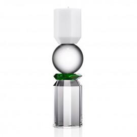 Bougeoir Memphis blanc transparent et vert