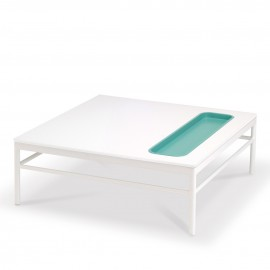 Table basse RIVAGE - blanc / niche lagon