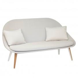 Canapé 2 places VANITY - blanc / gris clair
