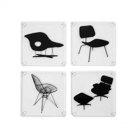 Arteum Sous verres Eames Chair Silhouettes Lot de 4