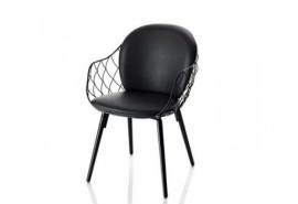 Petit fauteuil en cuir PINA Noir