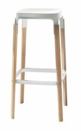STEELWOOD STOOL en hêtre teinté Blanc