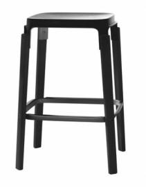 STEELWOOD STOOL en hêtre teinté Noir
