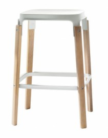 STEELWOOD STOOL en hêtre naturel Blanc
