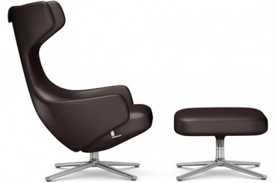 fauteuil vitra grand repos et ottoman cuir naturel choco. Black Bedroom Furniture Sets. Home Design Ideas