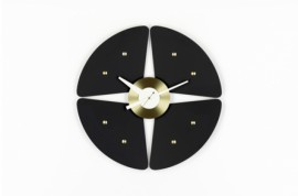 Petal WALL CLOCKS Noir Laiton