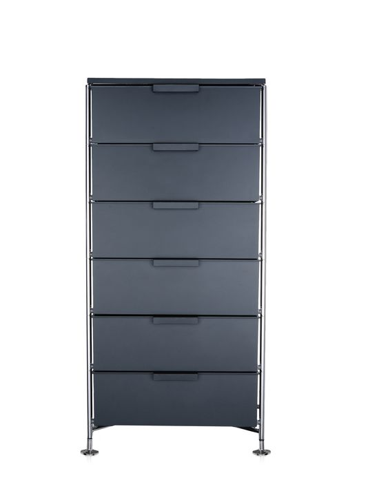 rangement kartell element de rangement mobil 6 tiroirs ardoise opaque. Black Bedroom Furniture Sets. Home Design Ideas