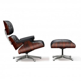 Eames Lounge Chair Ottoman premium nero