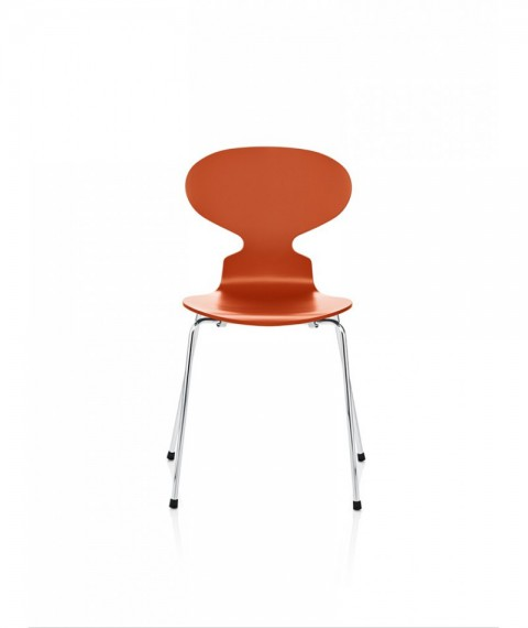 Fritz hansen chaise la fourmi 4 pieds laqu e orange for Arne jacobsen chaise fourmi