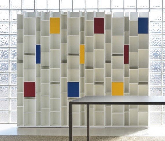 MDF Bibliothèque RANDOM + 3 box