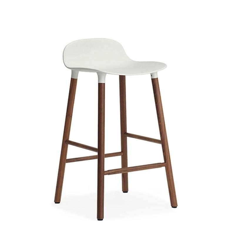 tabourets tabouret haut form noyer h65 blanc normann. Black Bedroom Furniture Sets. Home Design Ideas